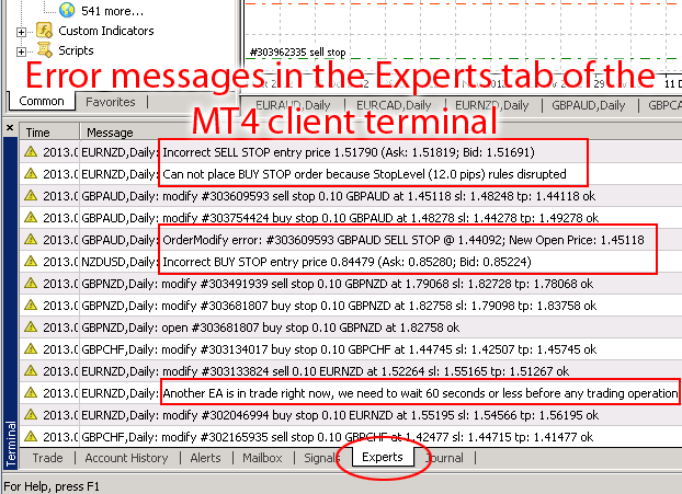 Error messages in the Experts tab of the MT4 client terminal