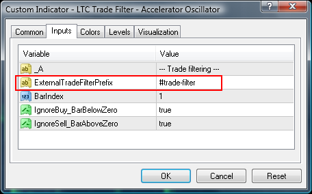 External trade filter AC settings
