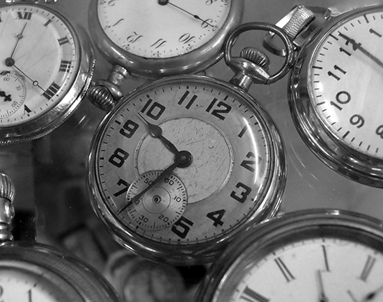 clocks of different times