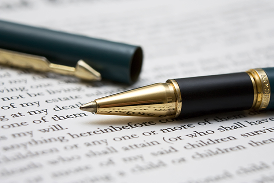 signing a contract or agreement