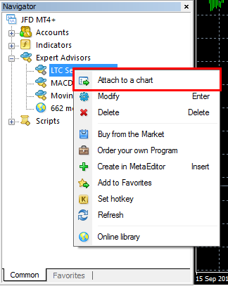 Attach Expert Advisor to a chart in MT4