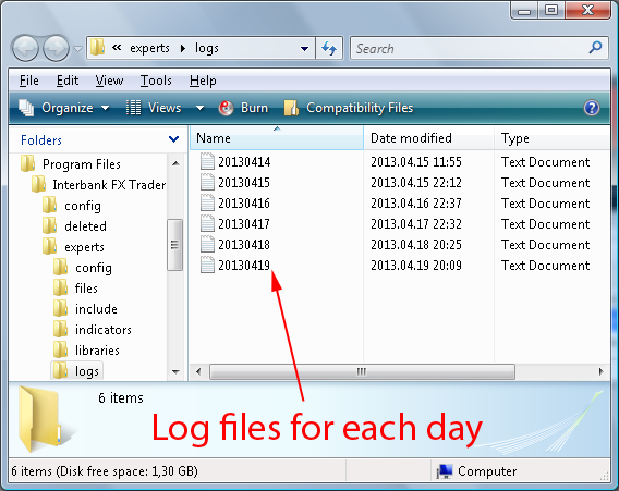 MT4 Experts log files folder