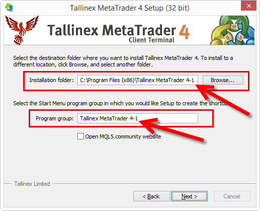 This is where you can change the MT4 installation destination folder.