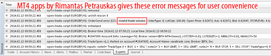 Invalid trade volume error on mt4 build 604