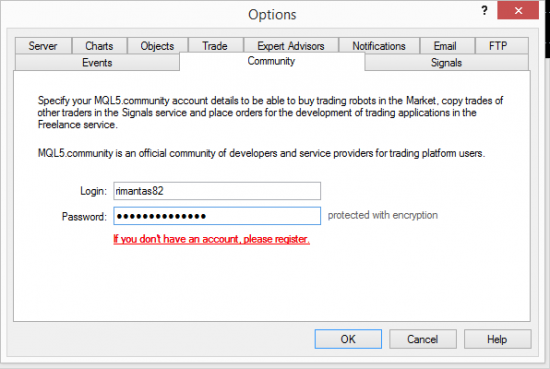 Logging into the MQL5 Community from the MT4 client terminal