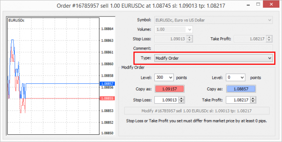 Order Modify window in MetaTtrader 4 client terminal.