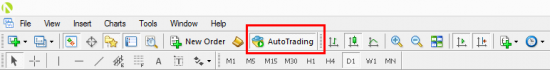 With this button you can turn Autotrading off or on. By default Autotrading is disabled in MT4 client terminal.