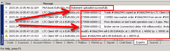 Messages from two different Expert Advisors in the Experts tab of the MT4 client terminal.