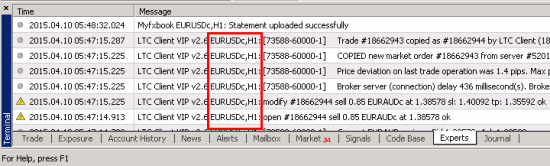 MT4 Experts tab shows on which currency pair or other instrument chart a particular EA was running.