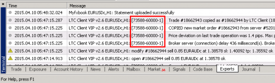 When Local Trade Copier Client EA prints messages in the Experts tab of the MT4 client terminal, it will add a special chart window ID to help customer identify which EA instance actually printed the message. This helps in case you are running multiple EAs.
