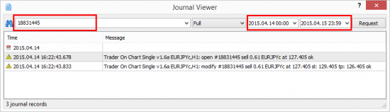 MT4 allows you to search for log messages by date and phrase.
