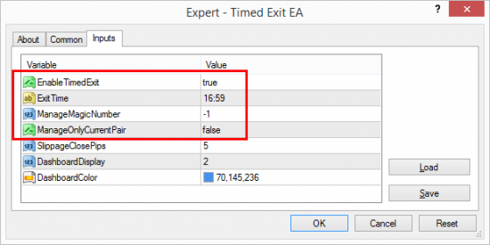 Timed Exit EA scheduled to close all open trades of any pair at 16:59
