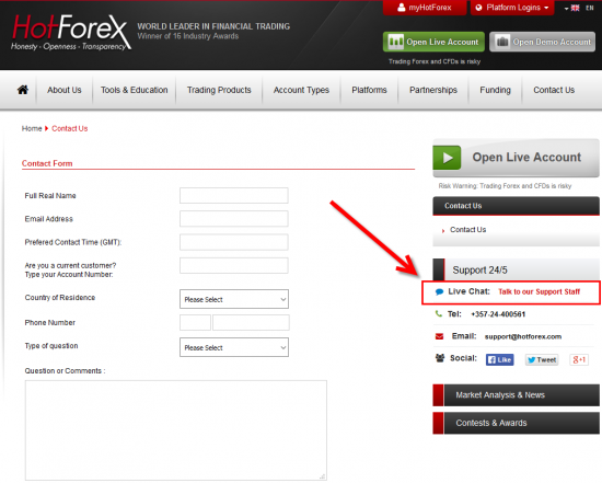 Multiple ways to contact HotForex broker
