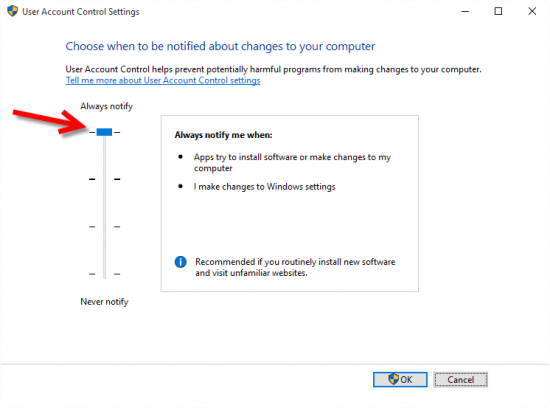User Account Control settings on Windows 10