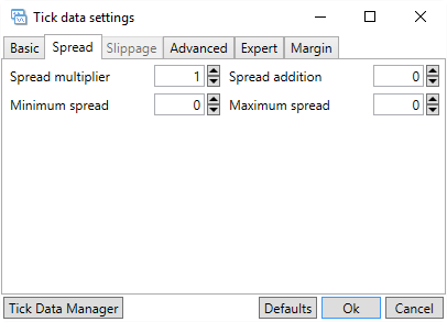 Tick Data settings (Spread)