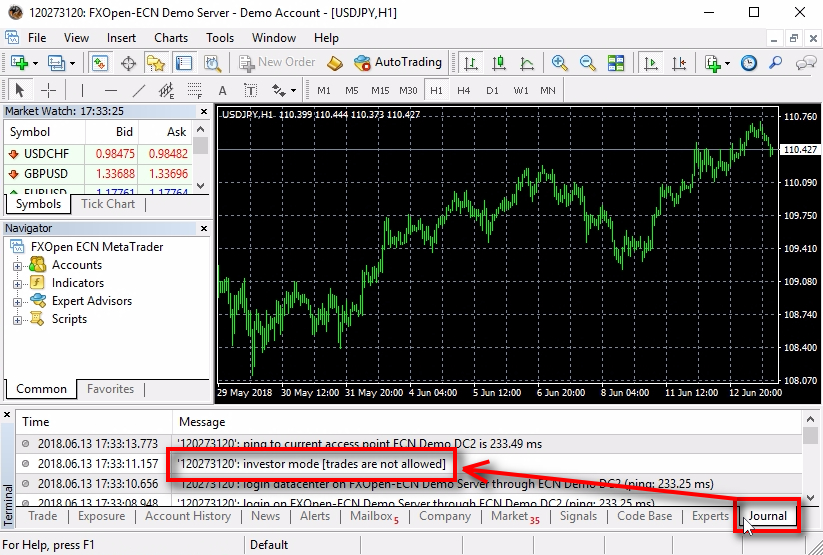 How can you know if you are logged into MT4 with investor password or main password;When you login into MT4 with investor password it means you are viewing the account in investor mode or read-only mode. It means you cannot perform any trading operations like opening trades, modifying trades or closing them. After you login into MT4, you can open the Journal tab at the bottom of MetaTrader to find the investor mode [trades are not allowed] message. It tells you that you are logged in using the investor password.