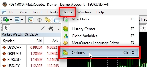 Basic MetaTrader 4 configuration Before using MT4 I prefer to do some basic configuration. Click on Tools - Options.