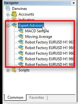 Here they are — all five MT4 robots on my trading platform.