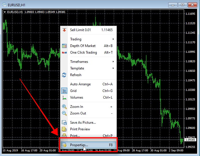 Open Chart Properties To open the Properties window, right-click on the chart and choose Properties from the menu. There you can change the chart style by choosing different colors and new settings.